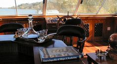 A peek at the Captains Cabin on the Spirit of Jen the Vaal's most luxurious and biggest River Cruiser at Stonehaven on Vaal Cruise Prices, Centre Pieces, Table Centerpieces, Color Schemes, Spirit, Cabin, River, Luxury, R Color Palette