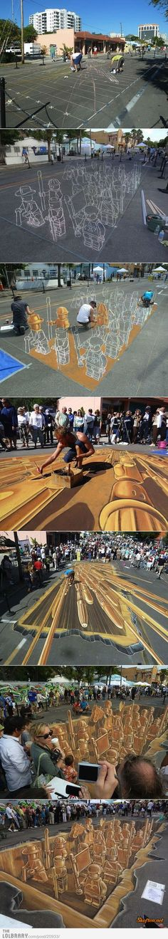 So amazing to find out how these brilliant artist are doing it.Lego 3-D sidewalk art