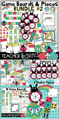 Game Boards & Pieces Clipart BUNDLE... with ladybugs, rainbows, flowers &  butterflies!  Graphics are perfect to create your own classroom game or to sell on Teachers Pay Teachers.  TeacherKarma.com