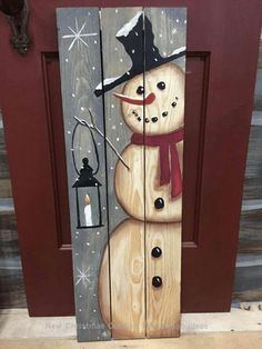 Schneemannbrett aus Holz DIY - My most creative diy and craft list Snowman Christmas Decorations, Diy Snowman, Christmas Ornament Crafts, Xmas Crafts, Christmas Snowman, Simple Christmas, Christmas Diy, Snowman Wreath, Wooden Snowman Crafts