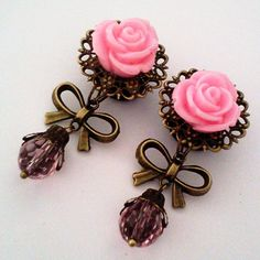 1/2 inch 12mm Bubblegum Princess Dangly Rose Plugs by Glamsquared, $30.00