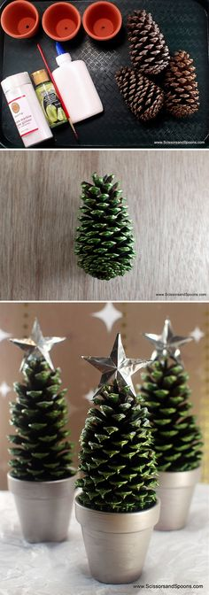 Simple and cheap crafts to decorate at Christmas .- Simple and cheap crafts to decorate at Christmas - Tin Can Decorations, Christmas Decorations, Christmas Ornaments, Pine Cone Crafts, Holiday Crafts, Thanksgiving Crafts, Christmas Projects, Kids Christmas, Merry Christmas