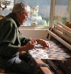Weaver Jim Bassler at the loom