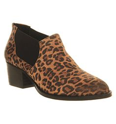 Office Giddy Up Elastic Shoe boots Leopard Suede - Mid Heels