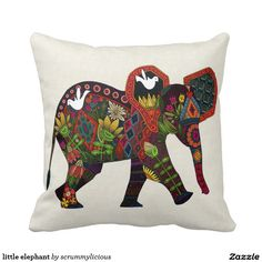 little elephant throw pillow #zazzle #nursery #tribal #illustration #animal #bird #sharonturner