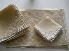 vintage flax embroidered  napkins set of 6 by polkadotrose on Etsy, $25.00