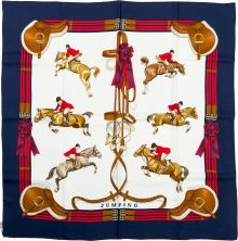 "Luxury Accessories:Accessories, Hermes 90cm Blue & Red ""Jumping,"" by Philippe Ledoux Silk ..."