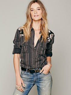 Free People Stripe Printed Shoulder Shirt at Free People Clothing Boutique