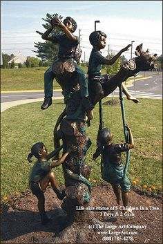 Kids in a Tree Bronze Sculpture | Bronze Children Statues & Children Sculptures | Garden Statues | Garden Sculptures | Unique Gifts for Him ...