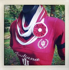 IU Hoosiers inspired Crimson and White Recycled Jersey Infinity Scarf by BlueEyesAndBareFeet, $22.50