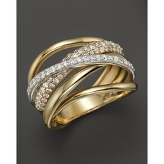 Diamond Pave Crossover Band in 14K White and Yellow Gold, .70 ct. t.w.