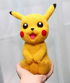 Needle Felted Pikachu Pokemon Pikachu Needle Felt by artfromsib