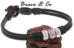 Sterling Silver, Leather & Tigers Eye Stone Surf Wristband Men Bracelet.