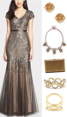 Bronze gown with gold accessories | Bridesmaid Looks You'll Love