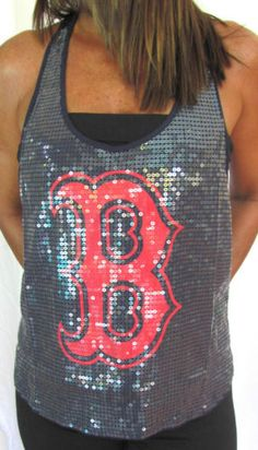 Victoria Secret PINK Boston Red Sox MLB Sequin Tank Top Bling T-Shirt