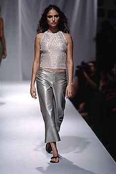 Elspeth Gibson | Spring 2000 Ready-to-Wear | 17 White embellished halter top and grey leather cropped trousers