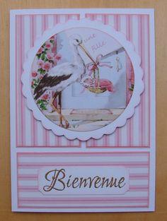 """carte naissance fille message """"Bienvenue"""" image ancienne cigogne et bébé : Cartes par cdine08-aux-cartes-de-sandrine"""