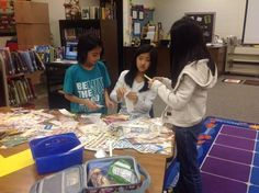 Students making bookmarks at Camey Elementary School