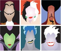 Disney Simple Villians (villians,evil,walt disney,posters,hades,hook,ursula,maleficent,cruella de vil,jafar,characters,movies)