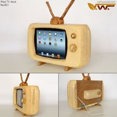 This is a retro, eye-catching iPad docking station designed by valliswood. The docking station is. Wood Crafts, Diy And Crafts, Small Table Saw, Docking Station, Tv Station, Wood Design, Woodworking Projects, Woodworking Jigsaw, Woodworking Skills