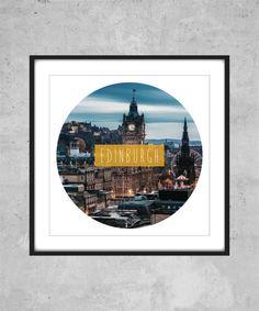 Edinburgh Print  city world travel text Printable by AugustPrints