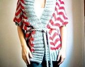 ZIG ZAG hand knit cardigan vest in grey and red. $120.00, via Etsy.