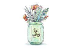 Watercolor Jar With Botanical Flowers And Leaves With Motivational Quote Protea Flower, Daisy Painting, Free Hand Drawing, Botanical Flowers, Clipart, Floral Watercolor, Art Images, Art Inspo, Vector Art