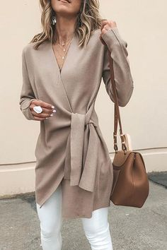 Solid Color V-Neck Casual Outerwear Sweater : Trajes de Moda Mode Outfits, Casual Outfits, Fashion Outfits, Fashion Ideas, Fall Work Outfits, Outfit Work, Summer Outfits, Dress Casual, Autumn Outfits