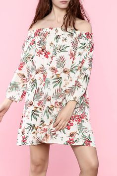 Jungle print off the shoulder crinkled chiffon dress is lightweight with a ruched bodice that wraps around the shoulder.   Ivory Floral Dress by Hayden Los Angeles. Clothing - Dresses - Casual Clothing - Dresses - Floral Clothing - Dresses - Mini Clothing - Dresses - Off The Shoulder Indiana