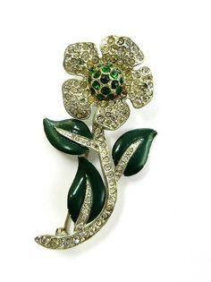 Art Deco Dazzling Paste flower  brooch  deep Green  enamel