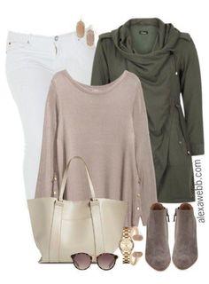 Plus Size Fall White Jeans Outfit - Plus Size Fashion for Women - alexawebb.com