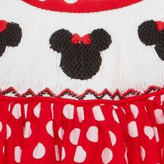 Smocked Mouse Ears bishop dress NEW - 8 * girl birthday Minnie* Smocking Plates, Smocking Patterns, Hand Embroidery, Embroidery Designs, Mouse Ears, Minnie Mouse, Red Romper, Polka Dot Fabric, Disney Outfits