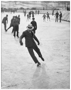 """© John Albok, 1937, Ice Skating  This is for chagalov.  """"In skating over thin ice our safety is in our speed."""" (Ralph Waldo Emerson)"""