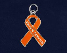 10 Multiple Sclerosis Orange Ribbon Charms (10 Charms)