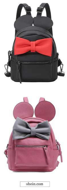 SheIn offers Contrast Oversized Bow Tie Embellished Backpack & more to fit your fashionable needs. Paula Stephania, Mochila Jeans, Sac Vanessa Bruno, Cute Backpacks, Cute Purses, Cute Bags, Backpack Purse, Beautiful Bags, School Bags