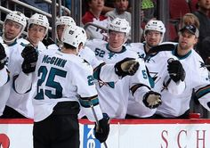 San Jose Sharks forward Tye McGinn celebrates his third period goal with the bench (Oct. 3, 2014).