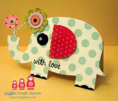 Elephant card - did this one easily by attaching an elephant shape to a folder card. Very cute, just don't forget to count the flowers when finding an envelope to fit! J