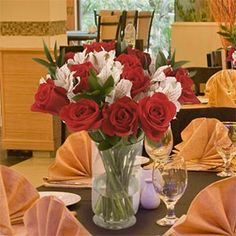 Red Roses and White Alstroemeria 6 Bulk-packed Bouquets