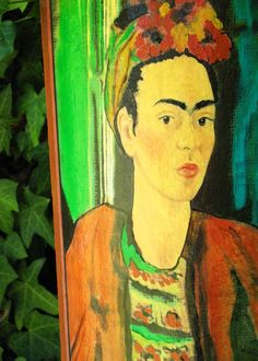 Homage to Frida detail close up Hand painted by ConnieTroupeDesign, $100.00