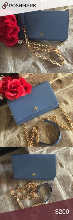 Tory Burch Brand New! Never Used! Still has wrapping on the zipper and foam inside! Chain detaches if you just would like to use as clutch❤️! Comes with the dust bag❤️! Measurements: 8in wide 5in tall Tory Burch Bags
