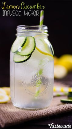 A great way to detox, this lemon cucumber infused water is a zesty and refreshing way to stay hydrated! Healthy Water, Healthy Detox, Healthy Drinks, Cucumber Infused Water, Infused Water Recipes, Citrus Water, Ginger Cucumber Lemon Water, Best Lemon Water Recipe, Water With Lemon