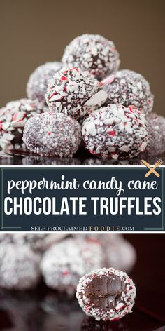 Rich and delicious Easy Candy Cane Chocolate Truffles take very little time to make and are the perfect peppermint holiday treat that you can give! #truffles #chocolate #peppermint #candycane #christmas #recipe #easy #dessert