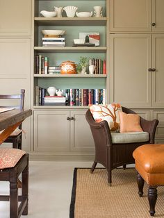 Give your home fall style by adding muted orange accents to a neutral room. More decor inspired by fall: http://www.bhg.com/decorating/seasonal/fall/decorating-inspired-by-fall-colors/?socsrc=bhgpin081912fallorangeaccents#page=10