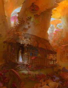 """Artist: Jiri Horacek Title: Mushroom """"While experimenting with painting more detailed pieces I encountered this lovely scenery deep inside the grand mushroom forest. Fantasy City, Fantasy Kunst, Fantasy World, Bg Design, Daily Fantasy, Art Watch, Matte Painting, Watercolor Paintings, Art Station"""