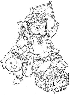 Hedgie as a Pirate from Jan Brett -- see all her coloring pages here: http://janbrett.com/activities_pages_artwork.htm (that page is not pinnable -- no image)