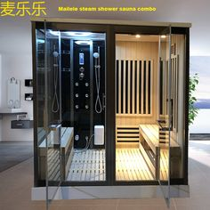 Far infrared sauna and wet steam shower combination. Steam Room Shower, Sauna Steam Room, Sauna Room, Lap Pools, Indoor Pools, Backyard Pools, Pool Decks, Pool Landscaping, Swimming Pools