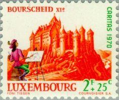 Sello: Castle Bourscheid (Luxemburgo) (Castles) Mi:LU 816,Yt:LU 766