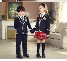 British korean japanese school uniform kids clothes uniform escolar children girls and boys clothing jacket skirt