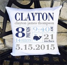 Boys Birth Announcement Pillow Whale 14 x 14 by SewCuteByMe
