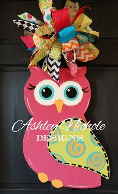 This cute owl is turned sideways to make it just a little different. Customize the color and the patterns you would like on the wing. All our wooden door decorations are hand cut and hand painted in the USA. Owl Crafts, Burlap Crafts, Wooden Crafts, Owl Door Hangers, Burlap Door Hangers, Burlap Wall, Wooden Cutouts, Front Door Decor, Diy Door